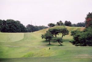 愛知カンツリークラブ 14番ホールティグラウンドから 右がアパッチ砦