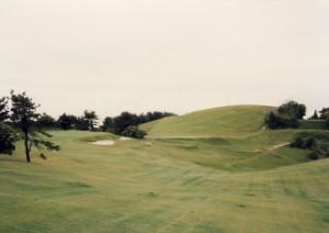 神戸ゴルフ倶楽部 11番の丘をグリーン側へ超えたシーン。左は15番グリーン